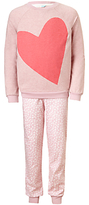John Lewis Children's Big Hearts Jersey Pyjamas, Pink