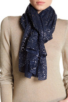 Saachi Navy Silver Water Drop Scarf