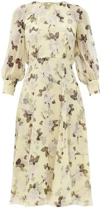 Erdem Yusra Rosemont Wallpaper-print Silk Dress - Yellow Print