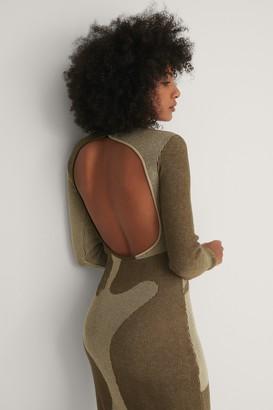 NA-KD Open Back Pattern Knitted Dress