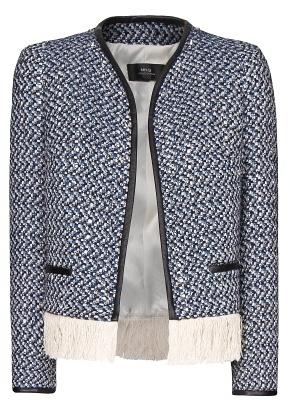 MANGO Fringed Bouclé Jacket