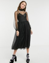 Thumbnail for your product : Forever U sheer balloon sleeve midi skater dress in black
