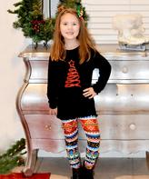 Beary Basics Black Tree Tee & Patterned Leggings - Toddler & Girls