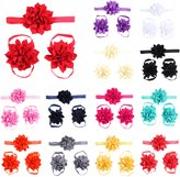 Fashion Story 3sets/9pcs Baby Newborn Girl Elastic Headband Band Foot Toddler Infant Crown Flower Hair Bow Photography