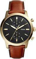Fossil Men's 44mm Brown Leather Band Steel Case Quartz Dial Watch Fs5338
