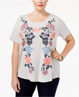 Style&Co. Style & Co Plus Size Embroidered Floral-Print T-Shirt, Only at Macy's