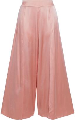 Myla Covent Garden Split-side Floral-print Stretch-silk Satin Culottes