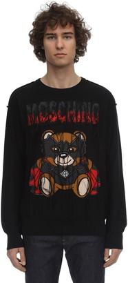Moschino Logo Teddy Cotton Intarsia Knit Sweater