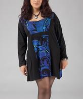 Aller Simplement Blue Paisley Square Neck Dress - Plus