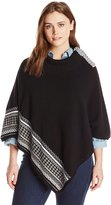 Leo & Nicole Women's Plus-Size Novelty Poncho Sweater