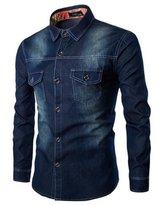 Huafeiwude Mens Plus Size Classic Basic Long Sleeve Denim Jacket M