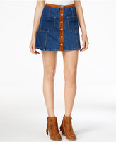 American Rag Faux-Suede-Trim Denim A-Line Skirt, Only at Macy's