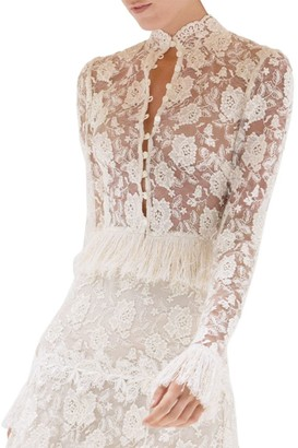 Alexis Percival Fringe Trim Lace Top