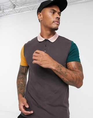 Asos Design DESIGN pique polo shirt with contrast sleeves in brown