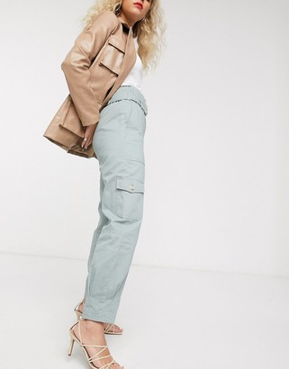 And other stories & belted tapered utility pants in faded green