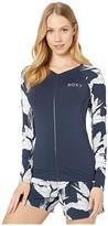Roxy Fashion Zip Long Sleeve Rashguard (Mood Indigo Flying Flowers) Women's Swimwear