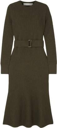 Victoria Beckham Fluted Belted Wool-cloque Midi Dress