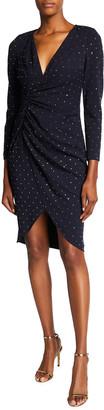 Aidan Mattox V-Neck Long-Sleeve Mock-Wrap Dress