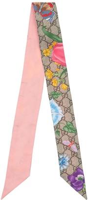 Gucci Flora Printed Silk Neck Scarf