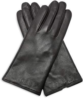 Ted Baker Baaylee Debossed-Logo Leather Gloves