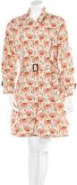 Prada Floral-Print Single-Breasted Coat