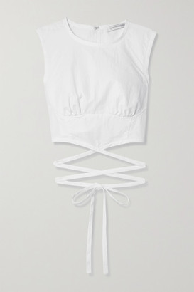 CHRISTOPHER ESBER Lace-up Cropped Poplin Top - White