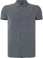 Scotch & Soda Micro Check Short Sleeve Pique Shirt, Combo A Navy