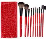 ACEVIVI 10 pcs Pro Synthetic Hair Make Up Cosmetic Brush Set with Red Faux Crocodile Case