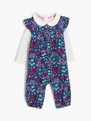 John Lewis & Partners Baby Floral Cord Dungaree Set, Multi