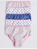 Marks and Spencer 5 Pack Pure Cotton Star Print Briefs (18 Months - 12 Years)