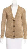 Tory Burch Metallic V-Neck Cardigan
