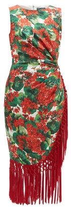 Dolce & Gabbana Geranium-print Tasselled Silk-blend Dress - Womens - Red Multi