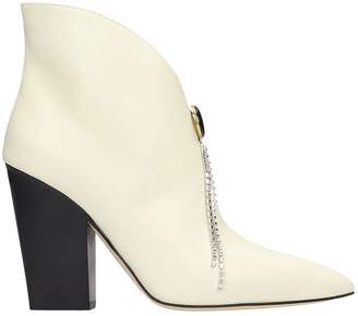 Magda Butrym Belgium High Heels Ankle Boots In Beige Leather