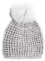 kyi kyi Fox Fur Pom Pom Hat