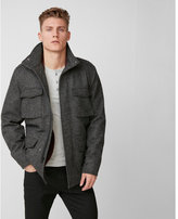 Express recycled wool four pocket removable vest field jacket