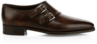 John Lobb Chapel Monk Strap Leather Shoes