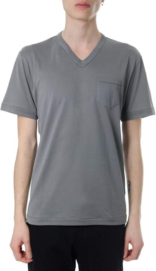 Dolce & Gabbana Gray Cotton V-neck T-shirt