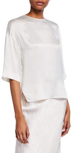 Vince Satin High-Low T-Shirt