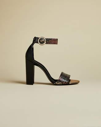 Ted Baker SECOAIM Snake embossed leather high heel sandals