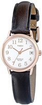 Timex Women's T2P5649J Indiglo Leather Strap Watch, Dark Brown/Rose Gold-Tone