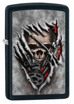 Zippo A Steampunk Skull Black Matte Outdoor Indoor Windproof Lighter Free Custom Personalized Engraved Message Permanent Lifetime Engraving on Backside