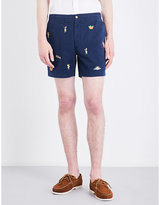 Polo Ralph Lauren Hawaiian-embroidered stretch-cotton shorts