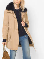 Michael Kors Fur-Trimmed Satin Anorak