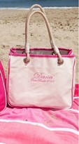 The Well Appointed House Natural Canvas Rope Tote with Pink Accents-Can Be Personalized