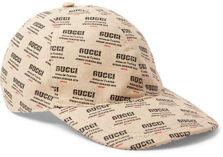 Gucci Logo-Print Linen And Cotton-Blend Canvas Baseball Cap