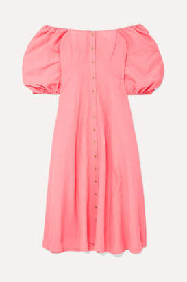 Mara Hoffman Net Sustain Mika Off-the-shoulder Tencel And Linen-blend Midi Dress - Pink