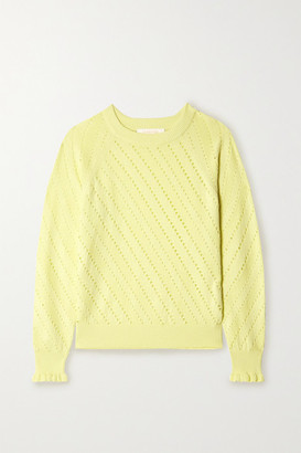 See by Chloe Ruffled Cotton And Alpaca-blend Sweater - Pastel yellow