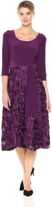 Alex Evenings Women's Plus-Size Scoop Neck T-Length Party Dress with Rosette Skirt