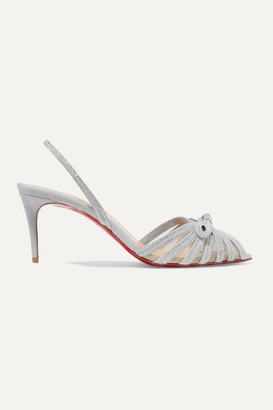 Christian Louboutin Araborda 70 Crystal-embellished Suede And Mesh Slingback Sandals - Light gray