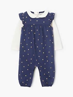 John Lewis & Partners Baby Glitter Spot Dungaree Set, Blue